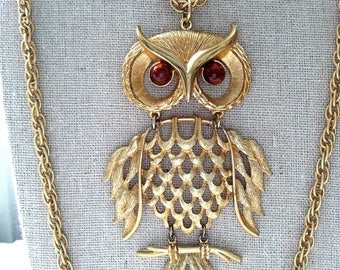 Large Articulated Owl Pendant Necklace, Gold Tone Double Strand Chain, Vintage Costume Jewelry