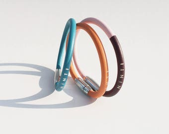 Blue lagoon Ring leather bracelet for woman