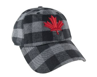 Canada Red 3D Puff Maple Leaf Embroidery on Charcoal + Black Buffalo Check Plaid Soft Structured Fashion Baseball Cap Dad Hat Style Canadian