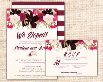 Boho Elopement Invitation, Printable PDF Instant Download, Bohemian We Eloped Elopement Reception Invitation, Purple Reception Invite K002