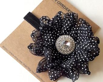 Black Flower Headband - Flower Headband - Baby Headband - Black Headband - Kid's hair accessory