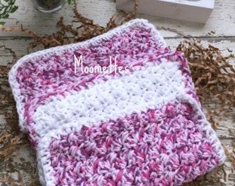 Dishcloth Set Handmade Farmhouse Kitchen Crochet Dish Cloths White Pink Purple Berry Crochet Shabby Eco Friendly Cotton Dishcloths Set of 3