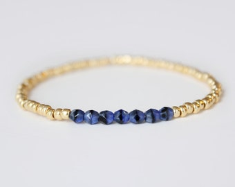 Lapis Blue and Gold Beaded Bracelet - Navi