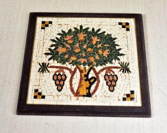Vintage,Stone,Mosaic picture,Natural stone,Mosaic art,Wall art,Home decor,Tree,Handmade