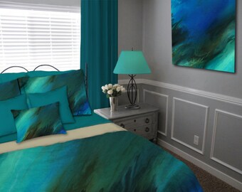 Duvet cover, Master Bedroom decor, Cobalt blue brown, Teal aqua turquoise, Abstract Bedding set, Queen Full King Twin, Contemporary, Modern