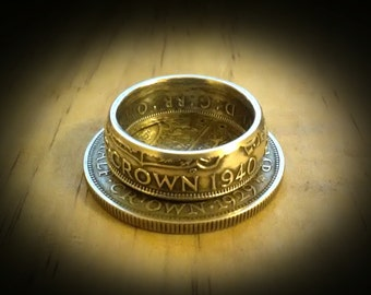 British Half Crown Coin Ring in .500 Silver - Custom Made In Your Size!
