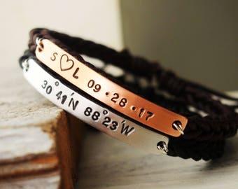 Couples bracelet, anniversary couple Bracelet braided leather bracelet Boyfriend girlfriend bracelets Personalized gift for Couples Bracelet