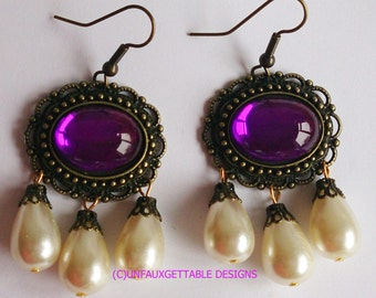 Tudor Medieval Gem & Triple Pearl Drop Earrings choice of stone colours larp ren sca