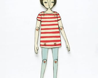Movable Paper Doll: Red Stripes & Blue Tights