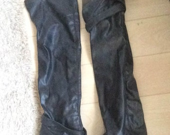 EU 38, UK5, USA 7 Above knee / thigh/ knee high black faux leather boots with buckle zip
