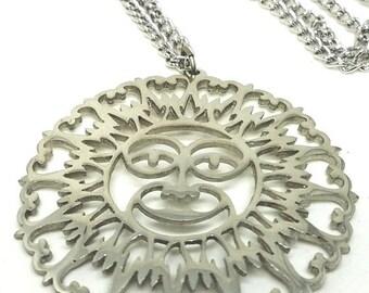 30% Off Sale Reed Barton Pewter Vintage Sun Pendant Necklace
