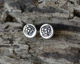 Sterling Silver Tiny Flower Earrings Post Earrings Reclaimed Sterling Silver Hand Stamped