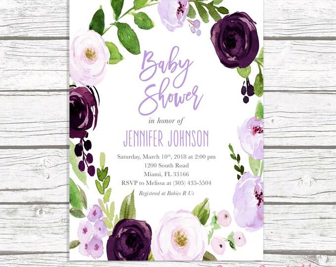 Lavender Baby Shower Invitation, Purple Baby Shower Invitation, Purple Floral Baby Shower Invitation Girl, Eggplant Baby Shower Invite