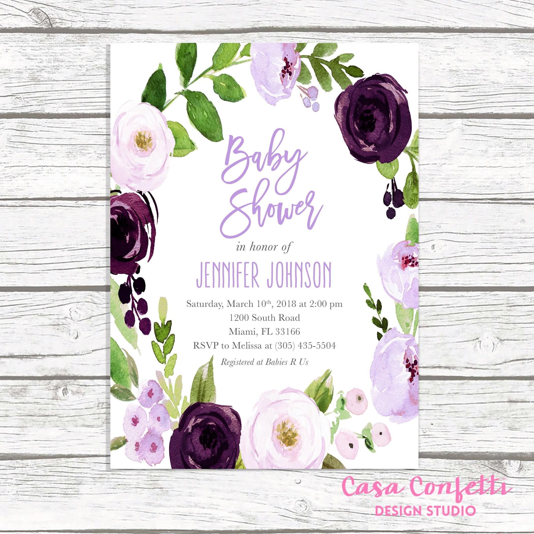Lavender Baby Shower Invitation, Purple Baby Shower Invitation ...