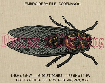 Cicada Embroidery Design, Locust Embroidery Design, Cicada Embroidery File, Locust Embroidery File, Bug, insect, DODEMAN001