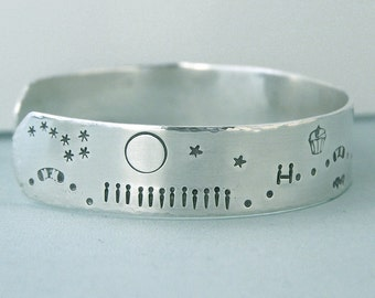 Agility Scene Bracelet - Sterling Silver  Cuff - Hand Stamped - Night and Day - For Dog Agility Enthusiasts