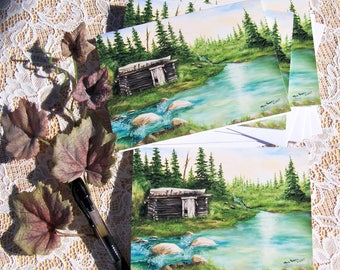 Cabin Stationary, Landscape Stationary, Blank Note Cards, Stationary Cards,  4 cards to a pack