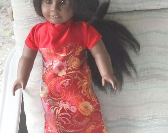 """Red Gown of Sari Silk to fit the 18"""" Young Girl Doll.  Dress with Empire waist, Mandarin Collar, A """"Play With Me"""" Creation"""