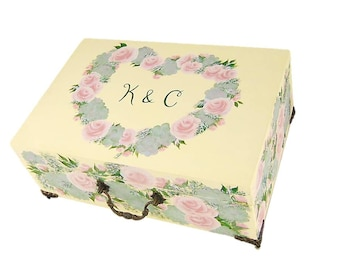 Wedding Card Box Hand-Painted Custom Wedding Box Wedding Keepsake Box Blush Pink Roses Succulents Wildflower Card Box Custom Memory Box