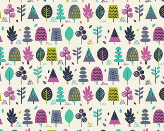 Andover Windy Day/Multi Trees/Teal/Cotton/Fabric/Sewing/Quilting