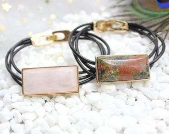 Bracelet ,Cuff Bracelet ,Gemstone  Bracelet , Cow Leather Bracelet ,Rose Quartz Bracelet