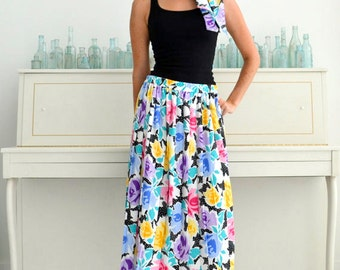 Vintage Multicolor Rose and Polka Dot A Line Pleated Skirt