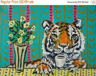 25% off tiger coffee wild animals art signed art print animals impressionism gift new modern abstract