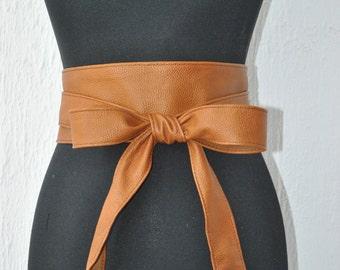 Caramel obi belt Lether obi belt Brown leather obi belt Brown belt