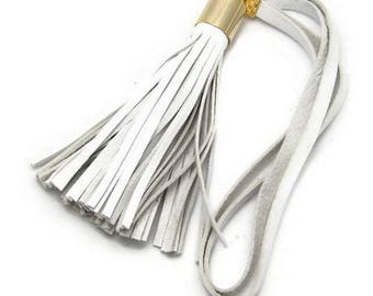 4inch White Italian Lambskin Leather Tassel Bag Charm Free USA Shipping and Gift Wrap
