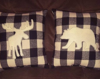 Buffalo Plaid Pillow Set Moose Bear Lodge Lot Cabin Country Primitive Home Decor