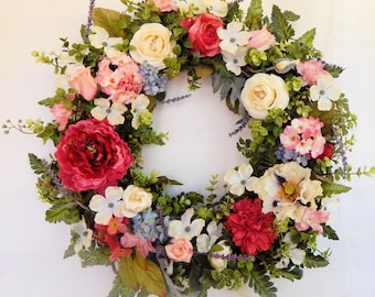 "Front Door Wreath,Floral Wreath,Exquisite Silk Floral Wreath""Beautiful Day""w/Peonies, Roses & Ranunculus,Wedding Wreath, Front Door Wreath"