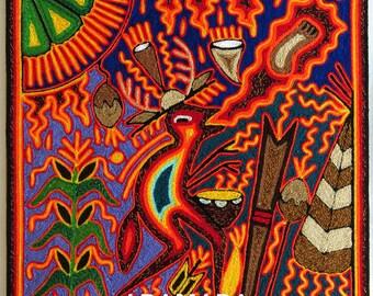 "12"" Huichol painting, Mexican folk art, Mexican art, Huichol art, Mexican decor, Mexican painting, Mexican wall art, Native art, 30-002 X"