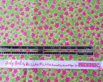 Girly Girl Pink Flowers Fabric by Studio e.  Girly Girl by Bella Pilar for Studio E Bright Green Background. LAST PIECE