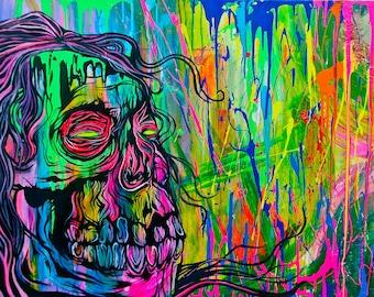 Psychadellic Skull Print