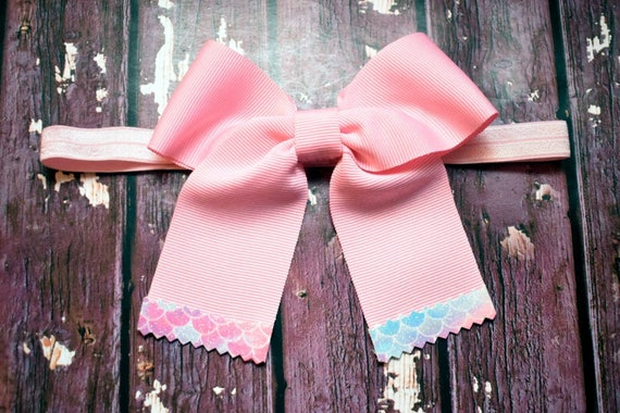 Baby pink grosgrain with mermaid tips bow - Baby / Toddler / Girls / Kids Headband / Hairband / Barrette / Hairclip