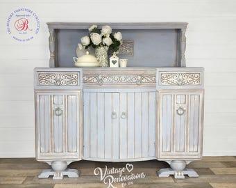 Vintage Sideboard, Hand painted, Annie Sloan Louis Blue, Cabinet, Living Room