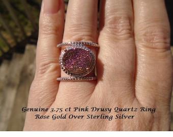 Pink Drusy Quartz Ring 14K Rose Gold Overlay