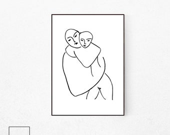 Henri Matise Print, Mother and Child, Line Illustration, Matisse Illustration, Matisse Print, Picasso Print, Picasso Poster, Pablo Picasso