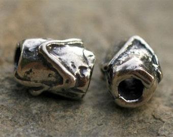 Artisan Zig Zag Cheveron Sterling Silver Tube Bead
