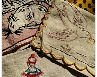 3 Large Victorian Linen Napkin Cases Handmade French Linen Pouches Hand Embroidered Chipmunk Acorn Folk Villager Dove Dog #sophieladydeparis