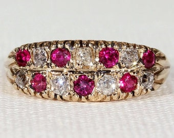 Edwardian Stacked Ruby Diamond Mutli-Stone Ring Size 6.75