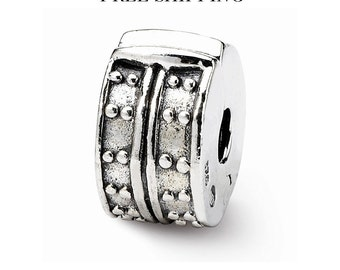 Sterling Silver Hinged Dotted Clip Bead