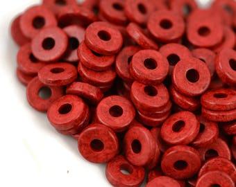 8mm Washer Round - Red - Mykonos Greek Ceramic Beads - QTY: 50, 100 or 150