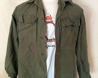 Vintage Dutch Army Shirt - Olive Drab - Snaps - Autumn - Netherlands - Size Medium