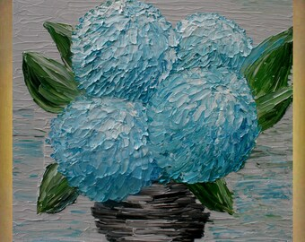Original Painting   Blue Hydrangea Flowers Impasto  Textured Palette Knife   Acrylic Painting.Free Shipping