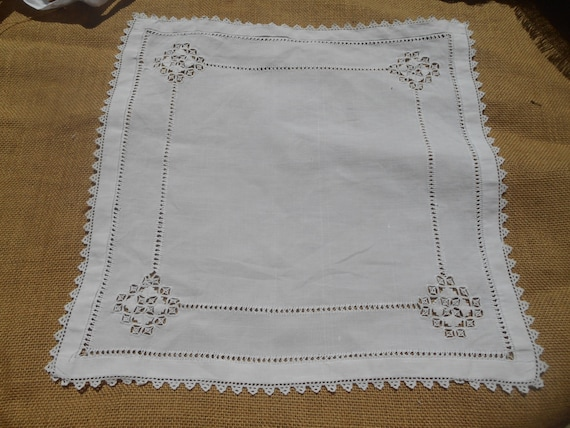 Victorian White French Linen Table Center Square Doily Handmade  Lace Cutwork Lace Trim #sophieladydeparis