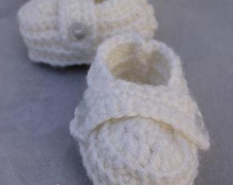 Handmade Crochet Baby Boy Booties- Vintage Inspired in White