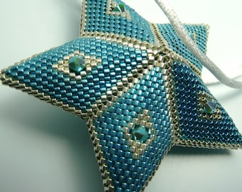 Blue and Silver 5-pointed Star Ornament, Christmas Tree Ornament, Christmas Ornament, Peyote Stitch Silver Christmas Ornament