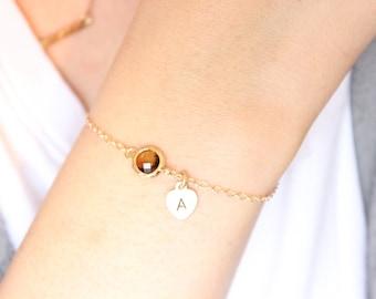 Inital optional, Silver available, brown bracelet, intial bracelet, heart bracelet, bridesmaid gift, delicate bracelet, dainty, silver