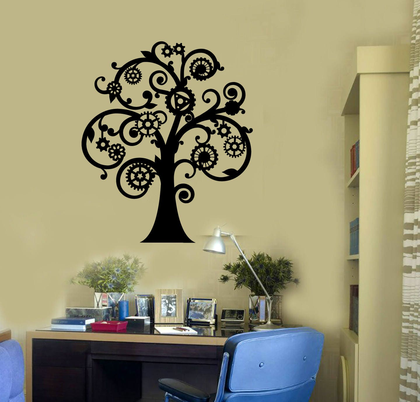 Vinyl Wall Decal Steampunk Tree Gears Creative Room Art
